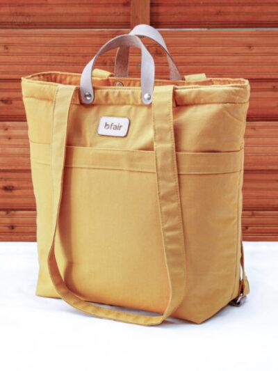 Multifunktionstasche von bfair aus 100% Bio-Baumwolle. Senf