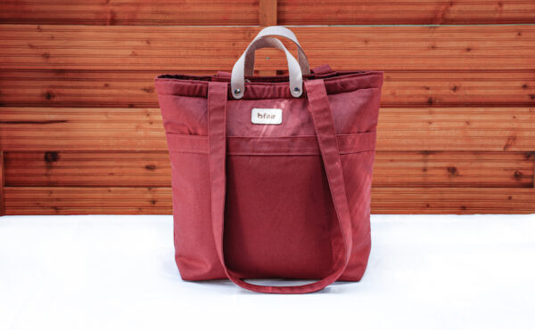 Multifunction bag by bfair made of 100% organic cotton. Red bag