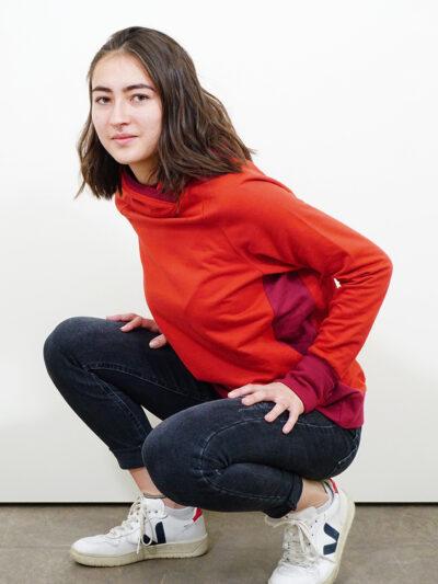 Damen Hoodie aus 100% Bio-Baumwolle. Red Earth