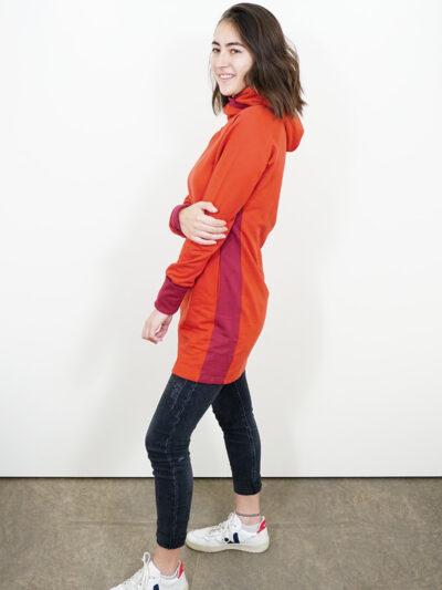 Women's sweat dress in 100% organic cotton. Red Earth